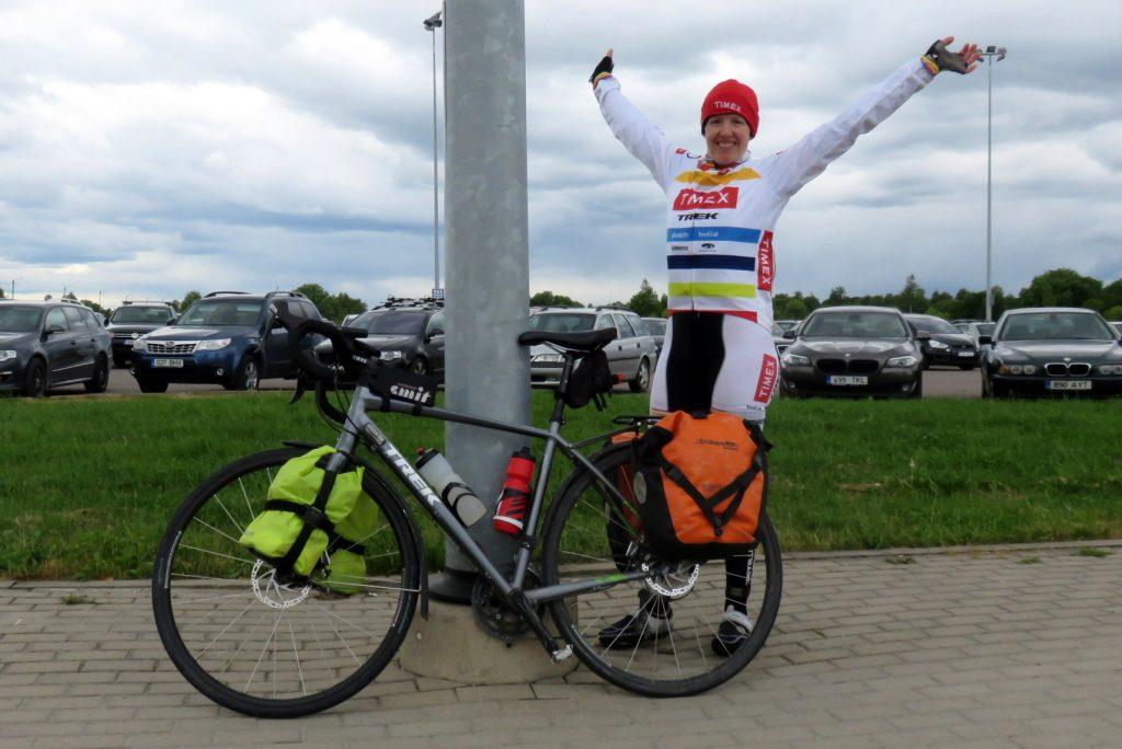 Ann Parthemore 17,000km ride finish photo